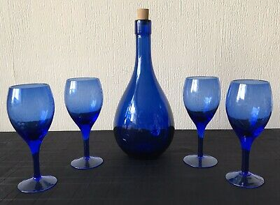 Vintage Cobalt Blue Wine Glasses Etched With Grapes And Colbart Blue Decanter • 18.50£