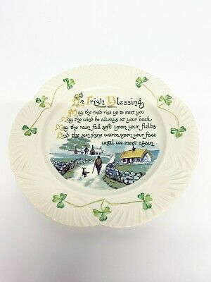 Belleek Ireland - Harp Shamrock  AN IRISH BLESSING  Accent Plate - Unboxed • 45£