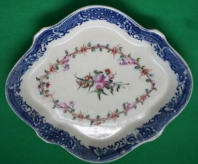 Antique Small Hand Painted Oval Dish Blue And White Border • 45£