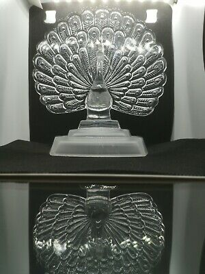 STUNNING French Crystal D'arques Glass Sculpture Peacock Feathers Frosted Base • 20£