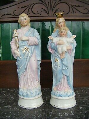 Antique Pair Of Bisque Porcelain Religious Figures Virgin Mary Christ Joseph • 150£