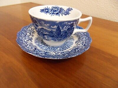 Vintage Ridgway Blue & White  Cup And Saucer In The Woburn Pattern • 7.50£