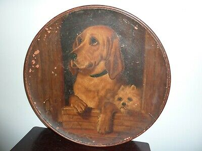 Late 19th Century Longpark Terracotta  35.8cm Charger-h/painted 2 Dogs In Kennel • 48£