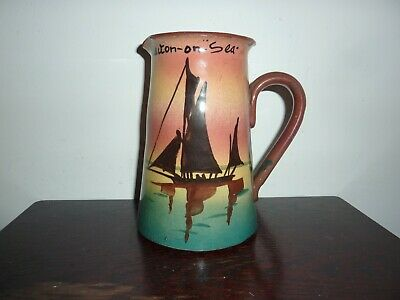 Early 20thc Devon/torquay Ware Pottery 16.5cm Jug -boat Image  & Clacton-on -sea • 24£