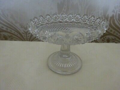 Vintage Retro Patterned Glass Dainty Small Pedestal Cake Stand 15cm Diameter • 8.50£
