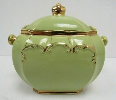 Sadler 1922 Green And Gold Pot With Lid - KEY P10 • 35£