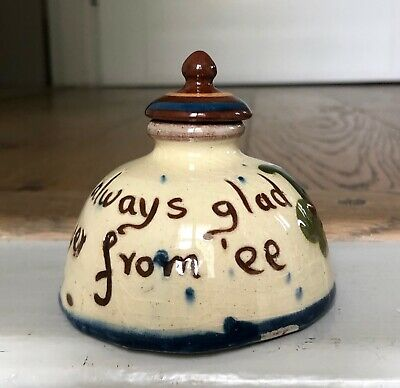 Vintage Motto Ware Pottery Desk Inkwell Bottle Us Be Always Glad Tu Yer From 'ee • 18£