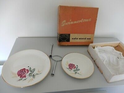 Swinnertons Cake Stand 2 Tier  Petra   Rose Design , Boxed • 4.50£