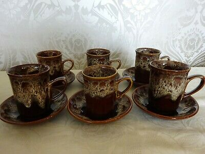 Vintage Retro Fosters Pottery Honeycomb Set Of 6 Mugs Cups & Saucers • 19.99£