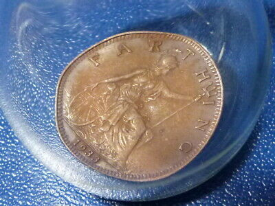 1933 George V Farthing Coin In FREE BLOWN Glass Bottle Souvenir #4 • 38£