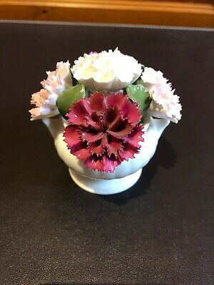 Aynsley Hand Painted August Carnations Fine Bone China Flowers In Vase Ornament • 1.99£