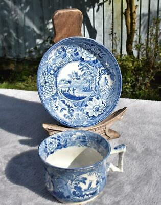 Antique Early 19thC Pearlware Cup And Saucer - Shorthose ? - Fisherman Pattern • 0.99£