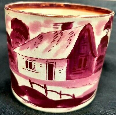 Georgian Very Early Sunderland Lustre Ware Hand Painted Coffee Can, C 1810 • 10.50£