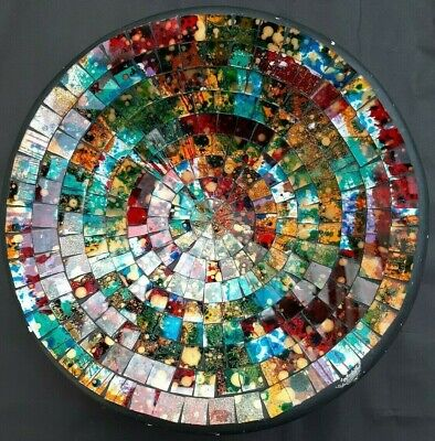 Studio Art Sparkling Multicoloured Mosaic Pottery Plate. Very Attractive • 6£