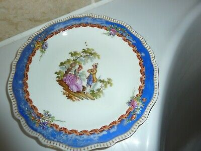 Meissen/dresden China 17.5cm Blue Border Plate With 2 Lovers In Garden  &flowers • 15£