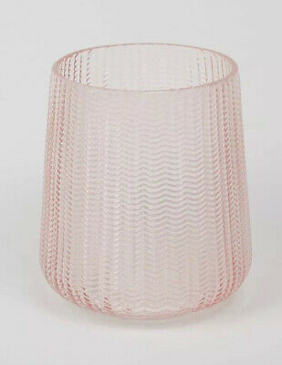 Beautiful Pressed Glass Hurricane. Candle Holder, Vase (pink) NEW BOXED • 11.99£