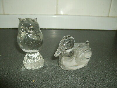 Two Glass Small Paperweights / Owl And Duck • 1£