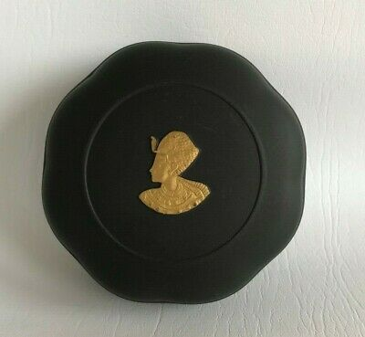 Wedgwood  Black/Gold  Jasperware Round Egyptian Box In Excellent Condition . • 44.99£