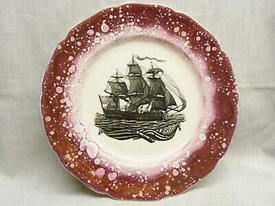 Stunning Sunderland Pink Lustre Style Plate Grays Pottery Galleon 1940s Plate • 7.99£