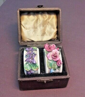 Vintage Pair Of Royal Doulton Napkin Rings In Original Fitted Case • 10£