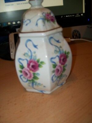Longton Hall Bone China 6 Sided Vase With Lid Very Good Condition  • 0.99£