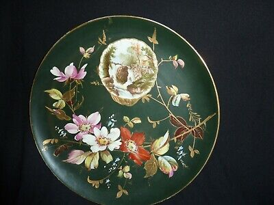 English Made Pottery 27cm Black Charger With Flower/leaf Decor &waterfall Imagel • 34£