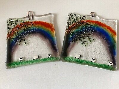 Rainbow Countryside Fused Glass Wall Hanging / Suncatcher • 12£