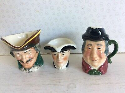 3off COLLECTABLE SMALL CHARACTER JUGS ( DOULTON-TONY WOOD -KELSBORO WARE ) • 4.99£