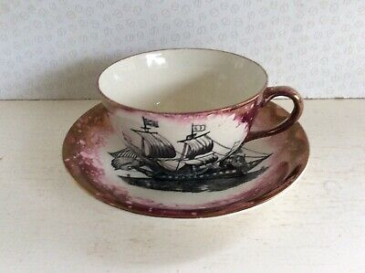 Vintage Grays Pottery Galleon Cup & Saucer • 4.99£