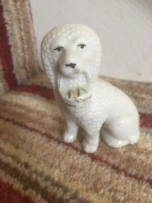 Vintage Staffordshire White Poodle Holding A Hat 19th Century 6.5 Cms High • 6£