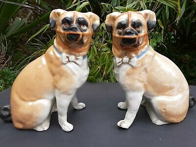 Pair Of Pugs In Porcelain With Muzzles & Bow Ties 20thC • 32.50£
