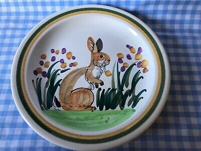 Vintage Hand Painted Iden Rye Pottery Rabbit Plate By Steve Duffy • 15£