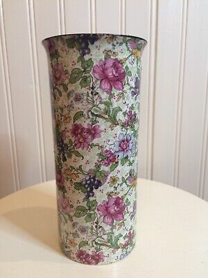 Vintage Chintz Vase Featuring Flowers And Grapes In Pinks And Purples • 4.50£