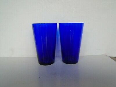Pair Of Antique 19th C Bristol Blue Glass Small Tumblers • 2.99£