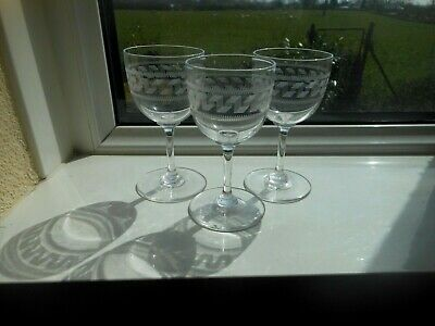 3 Edwardian Crystal GREEK KEY Sherry Or Port Wine Glasses Etched Pall Mall Style • 2.49£