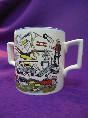 Vintge 2 Handled Pottery Tankard, God Speed The Plough • 3£