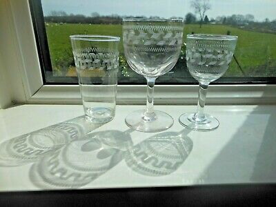 3 Edwardian Etched GREEK KEY Glasses Small TUMBLER Slice Cut GOBLET & SHERRY • 2.49£
