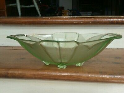 Art Deco Frosted Green Glass Dish  1930s Decor Fruit Nuts Display Table Piece  • 15.30£