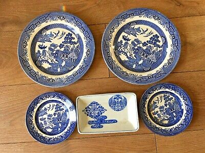 JOB LOT Willow Pattern Plate 2 Large Churchill Staffordshire 2 Small And Other  • 1.99£