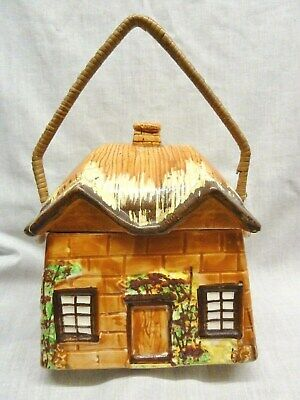 Lovely Art Deco Biscuit Barrel Ye Olde Cottage Colourful Wicker Handle Country • 2.99£