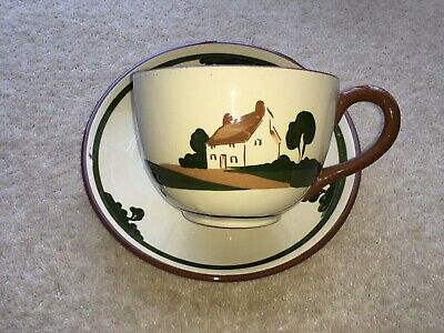 Vintage Dartmouth Pottery Motto Ware Giant Sized Cup&saucer • 20.99£