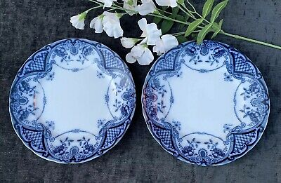 2 Vintage / Antique F & Sons BUTE Dinner Plates Blue & White 1870 Transfer-ware • 24.95£