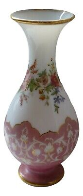 Antique French Glass Opaline Vase 12   Hand Painted & Gilded C1850 • 93.74£