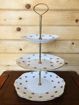 Vintage Duchess Bone China 3 Tier Cake Stand With Brass Fixings • 15£