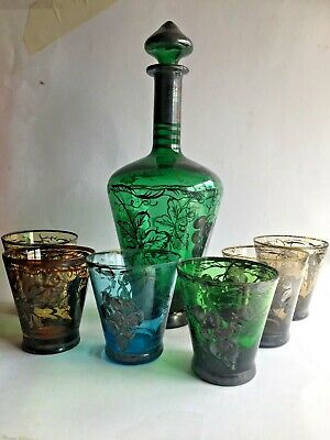 Venetian Glass Silver Overlay Decanter And 6 Glasses • 14£