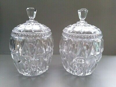 1 Pair Of Vintage Glass Pots With Lids • 20£