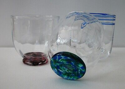 3 Art Glass Tumblers - X1 With Glass Ice Cube - Signed Martin Dg - Martin Yeates • 19.99£