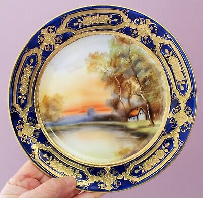 Antique Vintage Noritake Handpainted Gilded Side Plate With Cottage Scene • 22.95£
