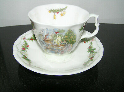 BRAMBLY HEDGE ROYAL DOULTON MERRY MIDWINTER  FULL SIZE CUP & SAUCER 1st QUALITY • 110£