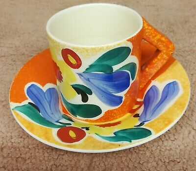 Vintage Old Cup And Saucer Like Clarice Cliff Pottery Nuage • 19.99£